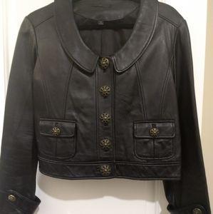 Low Collar Vintage Black Leather Jacket